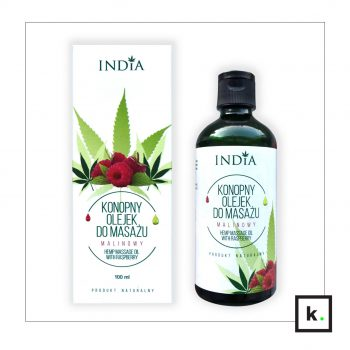India Cosmetics olejek konopny do masażu malina – 100 ml
